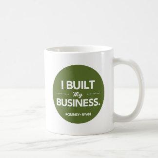 Romney Ryan construí mi negocio redondo (el verde) Taza Clásica