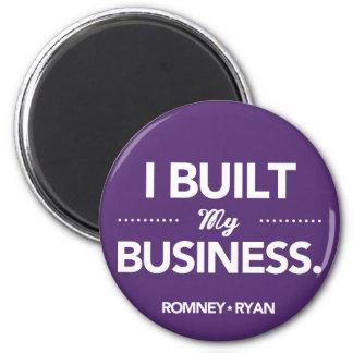 Romney Ryan construí mi negocio redondo (púrpura) Imán Redondo 5 Cm