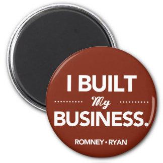 Romney Ryan construí mi negocio redondo (rojo) Imán Redondo 5 Cm
