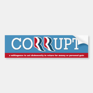 Romney & Ryan - Corrupt Car Bumper Sticker