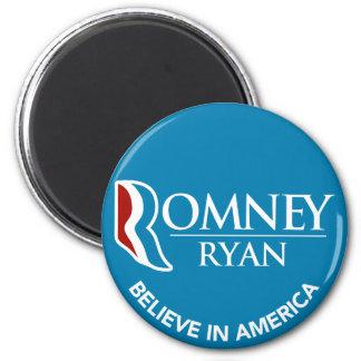 Romney Ryan cree en el azul redondo de América Imán Redondo 5 Cm