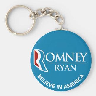 Romney Ryan cree en el azul redondo de América Llavero Redondo Tipo Pin