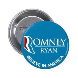 Romney Ryan cree en el azul redondo de América Pin Redondo De 2 Pulgadas