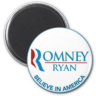 Romney Ryan cree en el blanco redondo de América Imán Redondo 5 Cm