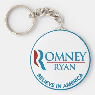 Romney Ryan cree en el blanco redondo de América Llavero Redondo Tipo Pin