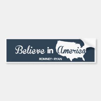 Romney Ryan cree en el parachoque azul marino de A Pegatina Para Auto