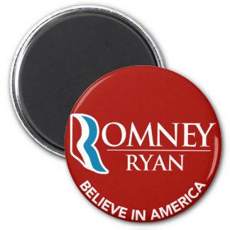 Romney Ryan cree en el rojo redondo de América Imán Redondo 5 Cm