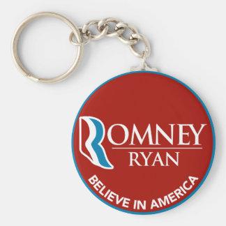 Romney Ryan cree en el rojo redondo de América Llavero Redondo Tipo Pin