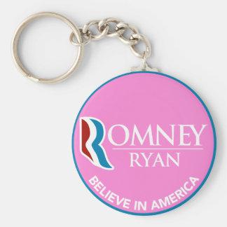 Romney Ryan cree en el rosa redondo de América Llavero Redondo Tipo Pin