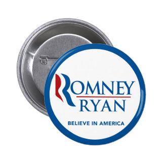 Romney Ryan cree en la frontera azul redonda de Am Pin Redondo De 2 Pulgadas