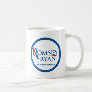 Romney Ryan cree en la frontera azul redonda de Am Taza Básica Blanca
