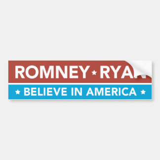 Romney Ryan cree en la pegatina para el parachoque Pegatina De Parachoque
