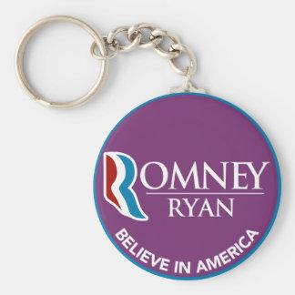 Romney Ryan cree en la púrpura redonda de América Llavero Redondo Tipo Pin