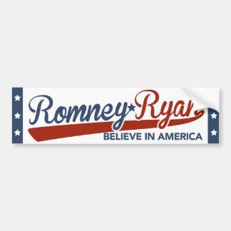 Romney Ryan cree en parachoque de la escritura de  Pegatina Para Auto