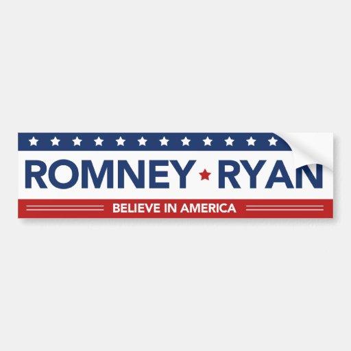 Romney Ryan cree en pegatina para el parachoques d Etiqueta De Parachoque