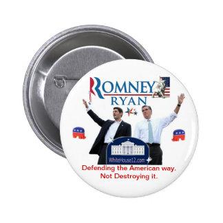 Romney-Ryan: Defensa de la manera americana Pin Redondo De 2 Pulgadas