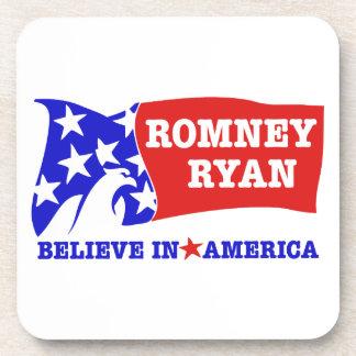 Romney Ryan Eagle Flag Beverage Coaster
