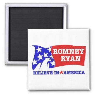 Romney Ryan Eagle Flag 2 Inch Square Magnet
