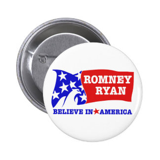 Romney Ryan Eagle Flag Pinback Button