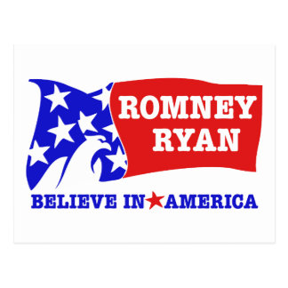 Romney Ryan Eagle Flag Postcard
