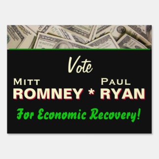 Romney Ryan Economic Recovery Yard Sign