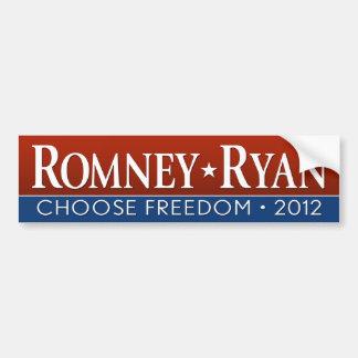 Romney Ryan - elija la libertad Pegatina De Parachoque