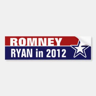 Romney Ryan en 2012 Pegatina Para Auto