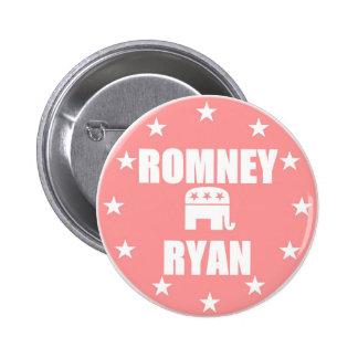 Romney Ryan en ROSA Pin Redondo De 2 Pulgadas