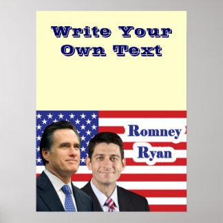Romney Ryan - escriba su propio texto Poster
