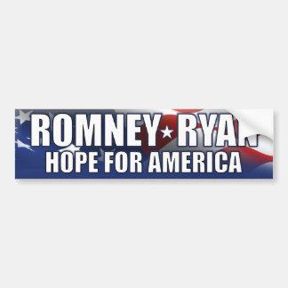 Romney - Ryan - esperanza de América Etiqueta De Parachoque