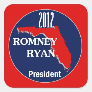 Romney Ryan FLORIDA Square Stickers