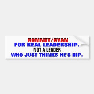 ROMNEY/RYAN FOR REAL LEADERSHIP. CAR BUMPER STICKER