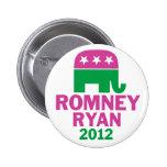 Romney Ryan - GOP Elephant for women pink green Pins