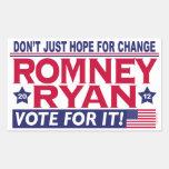 Romney Ryan Hope Change Rectangle Sticker