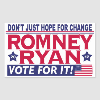 Romney Ryan Hope Change Rectangular Sticker