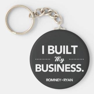 Romney Ryan I Built My Business Round (Black) Keychain
