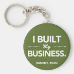 Romney Ryan I Built My Business Round (Green) Keychains