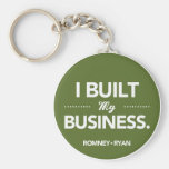 Romney Ryan I Built My Business Round (Green) Key Chain