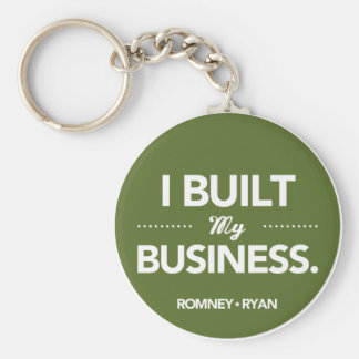 Romney Ryan I Built My Business Round (Green) Keychain