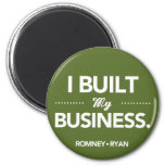 Romney Ryan I Built My Business Round (Green) Magnets