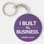 Romney Ryan I Built My Business Round (Purple) Keychain