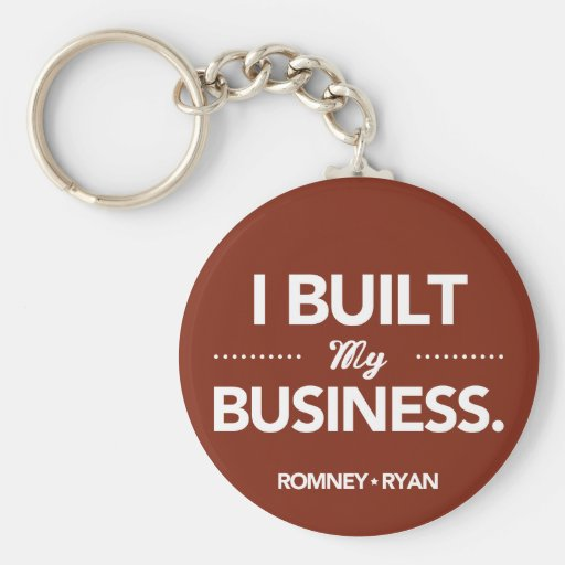 Romney Ryan I Built My Business Round (Red) Key Chain