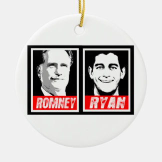 ROMNEY RYAN INK BLOCK Double-Sided CERAMIC ROUND CHRISTMAS ORNAMENT