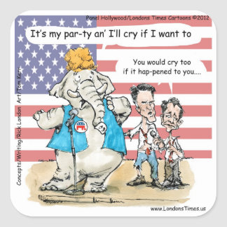 Romney & Ryan Its My Party Funny Gifts & Cards Square Sticker