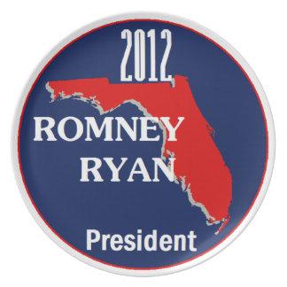 Romney Ryan la FLORIDA Platos Para Fiestas