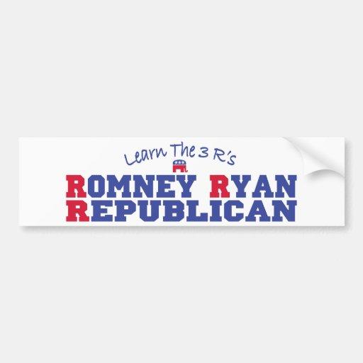 Romney Ryan Learn the 3 R's Car Bumper Sticker
