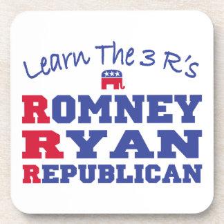 Romney Ryan Learn the 3 R's Drink Coaster