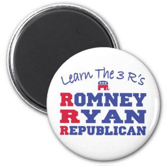 Romney Ryan Learn the 3 R's 2 Inch Round Magnet