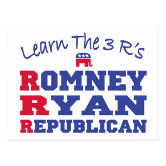Romney Ryan Learn the 3 R's Postcard