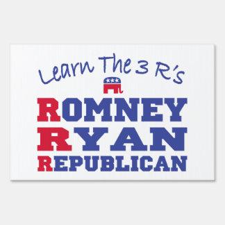 Romney Ryan Learn the 3 R's Yard Sign